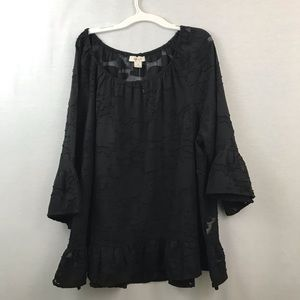 Style & Co mesh deep black blouse